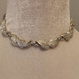 Vintage Choker Necklace Silver Pave Costume Jewels